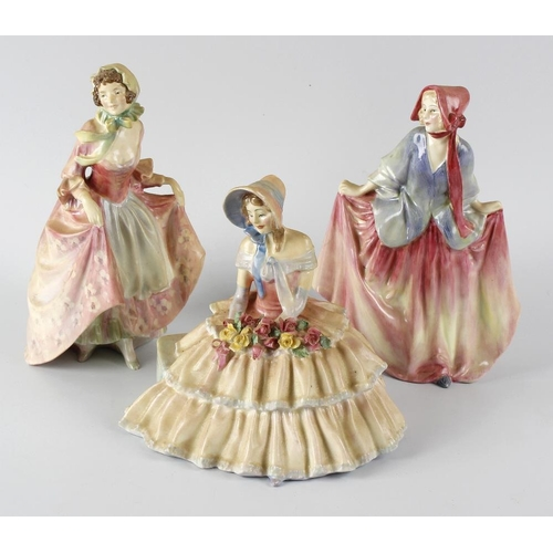 28 - A group of six Royal Doulton figurines, to include Sweet Anne HN1330, Monica HN1467, Miss Demure HN1...