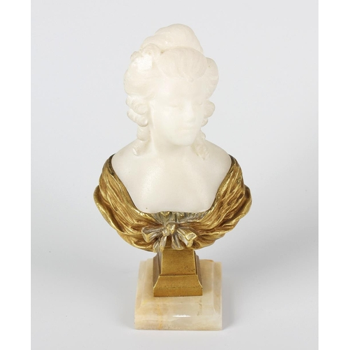 283 - An early 20th century gilt bronze and white marble miniature bust, Dominique Alonzo, (fl. c. 1910-19...