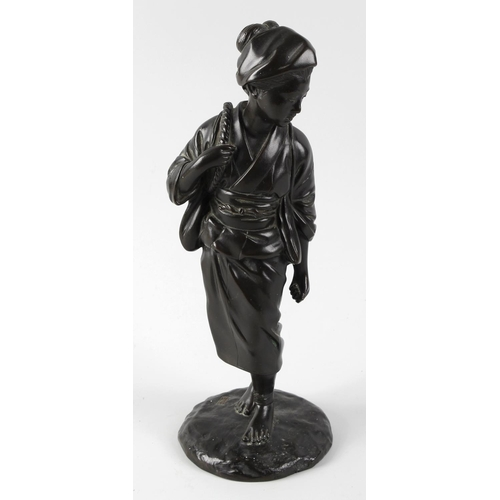 287 - A Japanese bronze figure modelled as a young female in traditional dress (a/f, lacking backpack), on...
