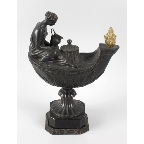 297 - A bronzed and gilt metal 'Vestal' lamp, after the 1773 original by William Keeling for Wedgwood, the...