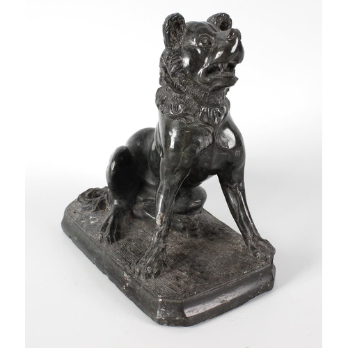 301 - 19th century Grand Tour carved serpentine study of the Dog of Alcibiades, 7 (18cm) high. <br>Chips a...