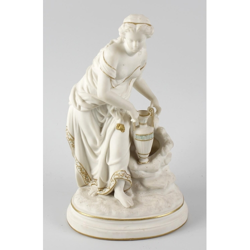 302 - A tinted Parian ware figure with gilt detail, modelled as a classical female figure holding a vase, ...