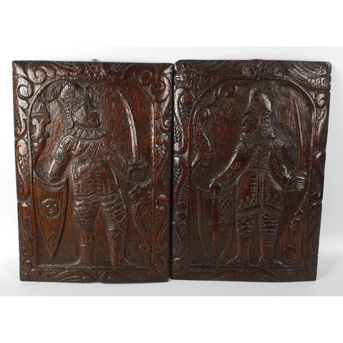 308 - A good pair of oak 'Romayne' panels, probably 16th century, each of rectangular form, depicting a kn...