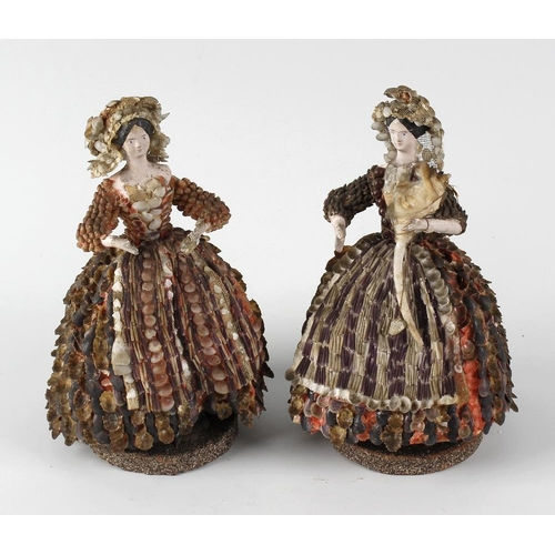 310 - A pair of 19th century shell decorated figurines, each modelled as a lady in 'crinoline' dress, 7 (1...