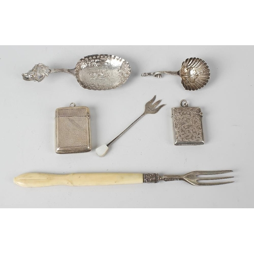 333 - A mixed group of assorted silver items, to include a 1960's silver retractable cigar piercer, with e...