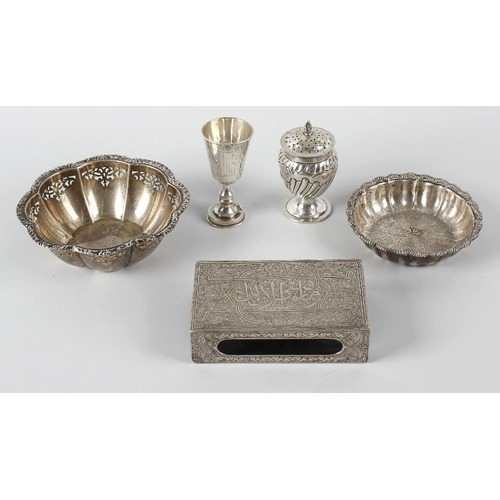 349 - A small selection of various silver items, comprising a late Victorian caster of part fluted and ovo...