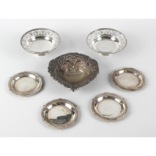 352 - A small selection of various silver items, comprising a late Victorian pierced bonbon dish, a late V...