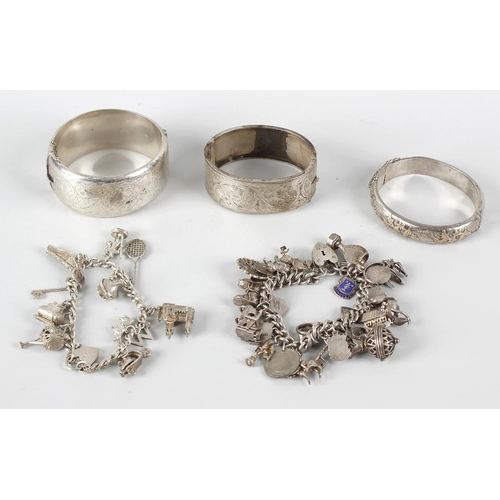 354 - A small selection of various silver and other bracelets, comprising four 20th century hinged silver ...
