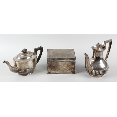 358 - A box of assorted silver plated items, to include two entree dishes, each of oblong form, a box of r...