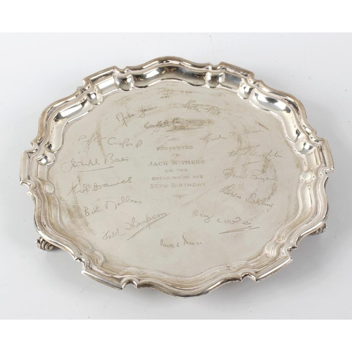 362 - A silver salver, of circular form with gadrooned border to engraved centre, detailed with personal e...