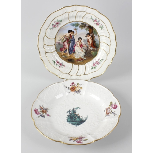 37 - Two 19th century Meissen porcelain dishes, each decorated with central figural scenes, plus a pot an...