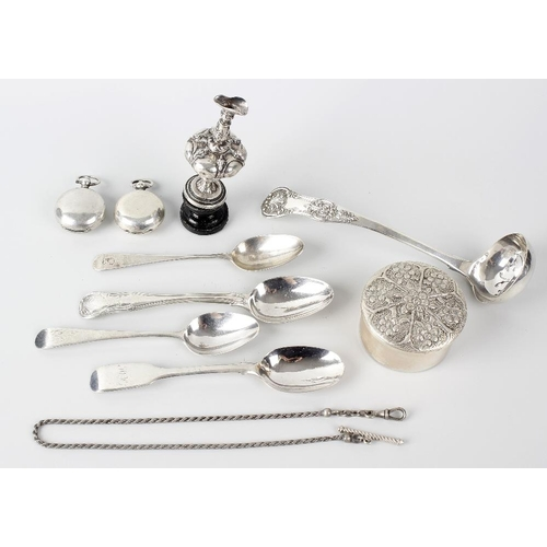 389 - Two hallmarked silver sovereign cases, four hallmarked silver tea spoons, a sifting spoon, white met...