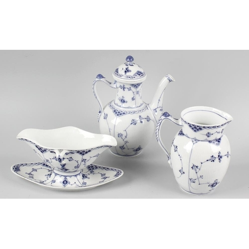 39 - An extensive collection of Royal Copenhagen porcelain half-lace dinner and tea wares , principally 1...
