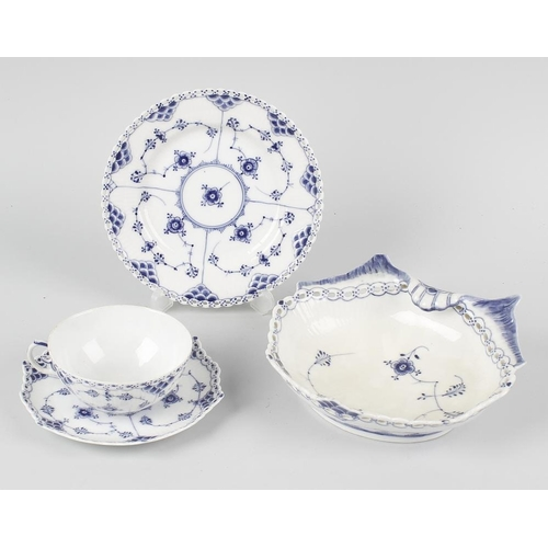 40 - A Royal Copenhagen porcelain full lace part dinner and tea service, principally assembled circa 1900...