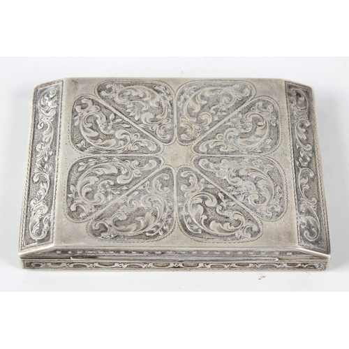 402 - A 935 standard sterling silver cigarette box, the rectangular formed body with canted cover having e...