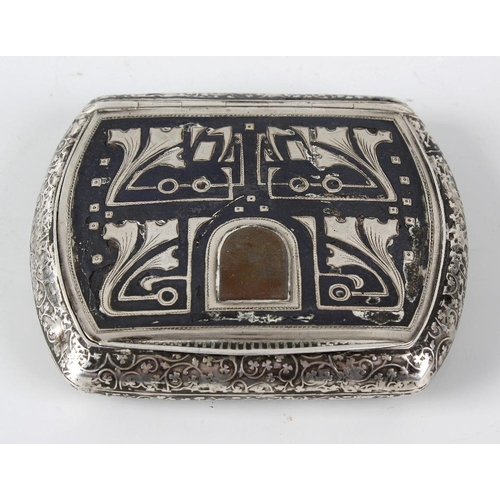 404 - A 900 standard white metal and niello work Middle Eastern table snuff box, the oblong formed body wi...
