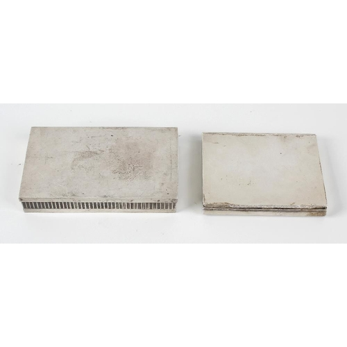 405 - A silver cigarette box, the body of plain rectangular form with two curved sides, having hinged cove...