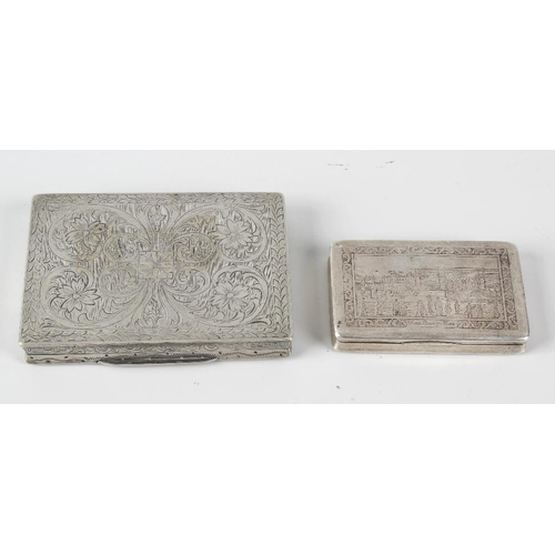 406 - Two continental white metal cigarette boxes, each of rectangular form with engraved foliate decorati...