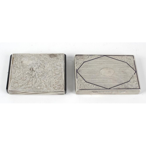 410 - Two continental white metal cigarette boxes, the first of rectangular form, having vertical engine t...