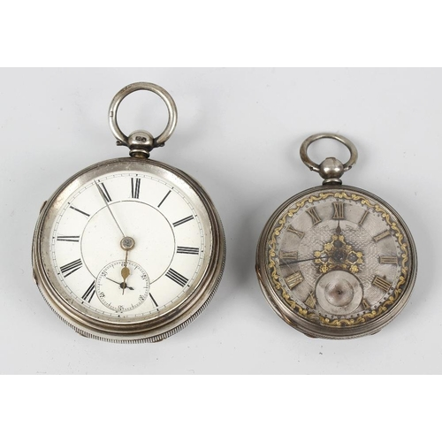 419 - Two silver pocket watches, the first having a white Roman dial, and subsidiary seconds dial to VI, t...