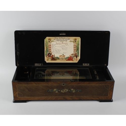 420 - A rosewood cylinder musical box, of rectangular form, the hinged cover with ebonised border and inla...