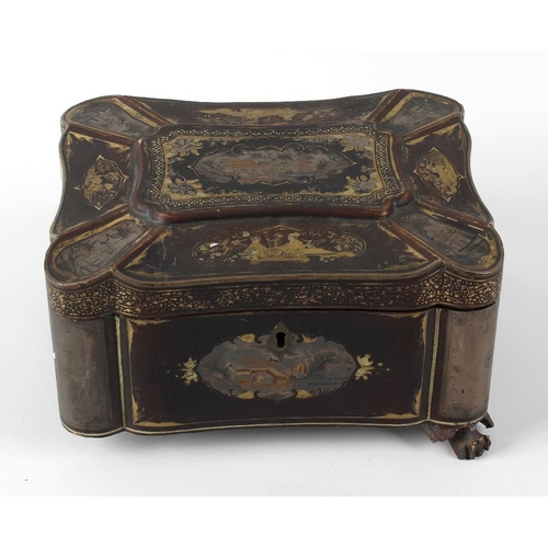 421 - A 19th century Chinese lacquered tea caddy with gilt chinoiserie style decoration depicting river sc...