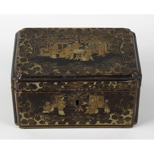 422 - A 19th century Chinese lacquer tea caddy, decorated with various panels of figures within garden set...