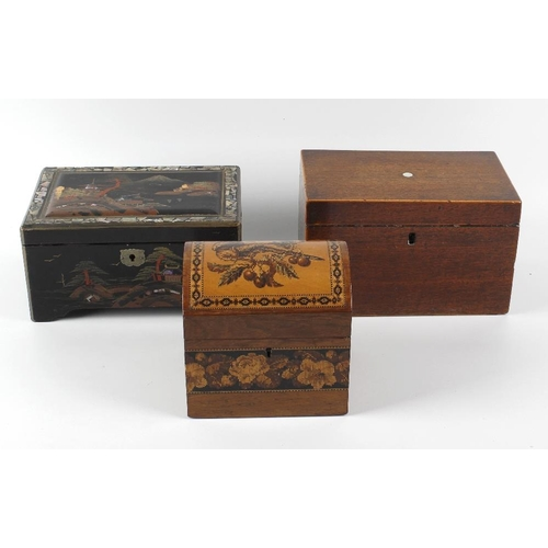 423 - A 19th century dome topped tea caddy, the hinged cover with Tunbridge ware inlaid decoration depicti...