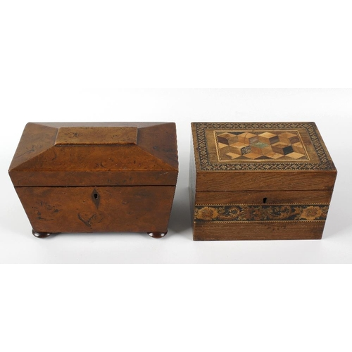 424 - A Tunbridgeware tea caddy, the body of rectangular form with inlaid decoration, the hinged cover ope...