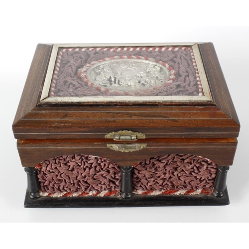 428 - A late 19th century French rosewood cased table top 'casket' sewing box with fitted musical mechanis...