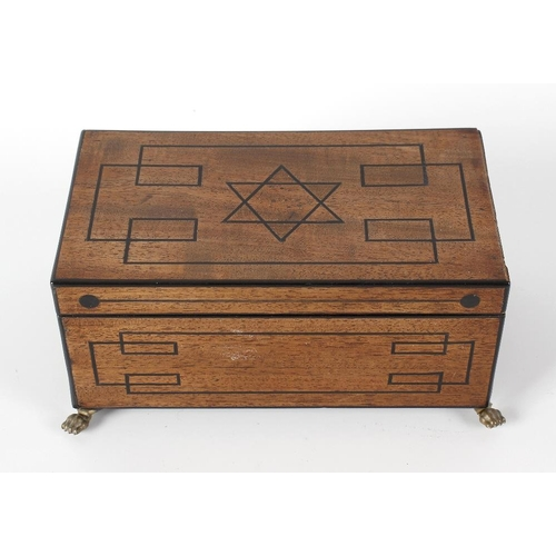 429 - A 19th century mahogany box and cover, the removable top lifting to reveal a vacant interior with ei...