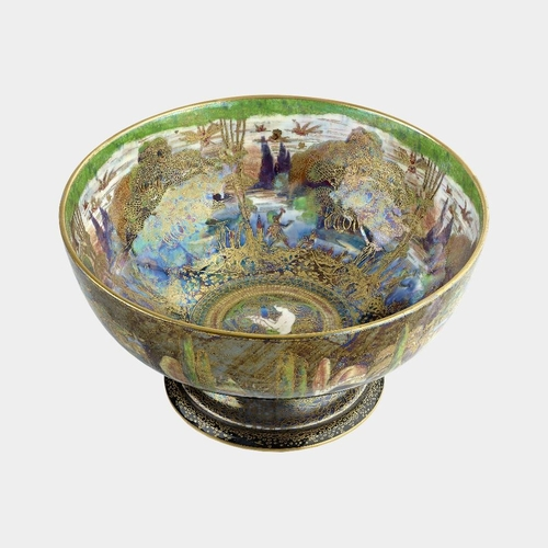 43 - A Wedgwood 'Fairyland lustre' pedestal bowl, designed by Daisy Makeig Jones, the iridescent green an...