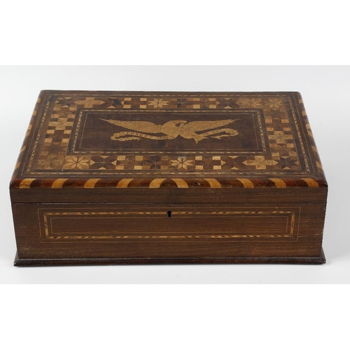 434 - Two 19th century inlaid walnut boxes. The first with hinged rectangular cover centred by a panel dep...