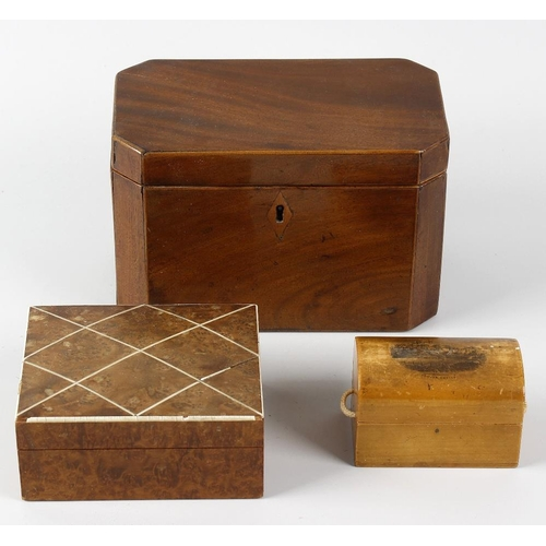 435 - Three various 19th century boxes. Comprising: a mahogany caddy, of canted oblong form, 7 x 4 x 4.5, ...