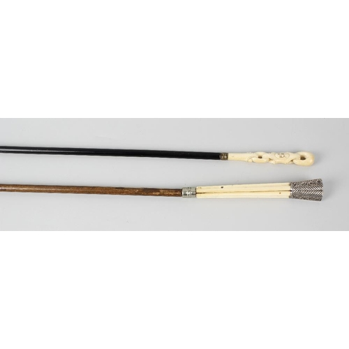 474 - Two ivory mounted walking canes, comprising one late Victorian example having a ribbed and scrolled ...