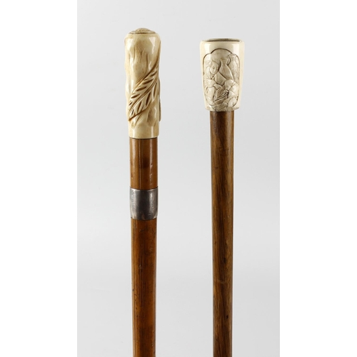 479 - Two ivory mounted walking sticks, comprising one George V example by T Brigg & Son, having a leaf ca...