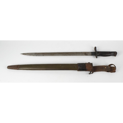 480 - A World War I era American bayonet, with 17-inch fullered blade stamped REMINGTON 1917 US, with wood...