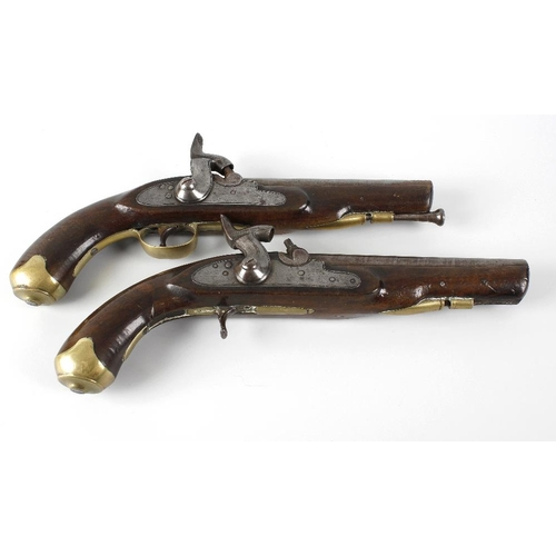 483 - A pair of late Georgian walnut, brass and steel side lock percussion cap pistols, 14 (37cm).  <br>Wi...