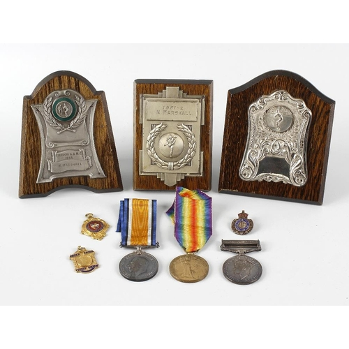 487 - A selection of assorted medals and trophies, to include a First World War British War medal and Vict...