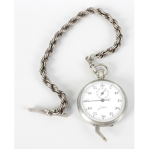 488 - A Junghans German military specification stopwatch with crown wind, press crown and unusual lower le...
