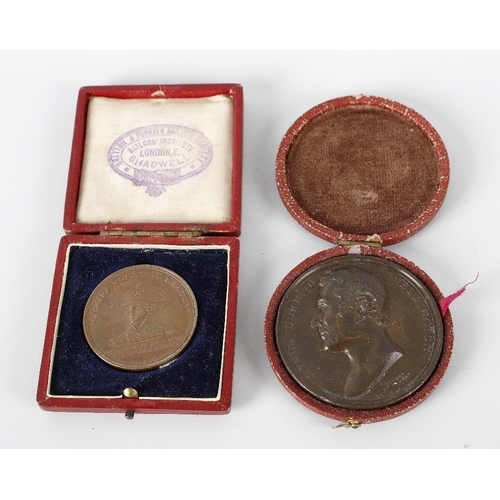 489 - A 19th century cased bronze medallion decorated with a profile of 'Arthur Duke of Wellington', 2 (5c...