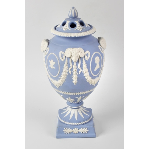 49 - A rare Wedgwood Royal commemorative blue jasperware trial vase and cover, made as a prototype for th...