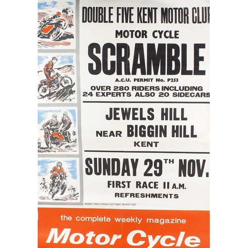 505 - A group of assorted motorcycle/motocross scramble posters, to include Double 5 Kent scramble club me...