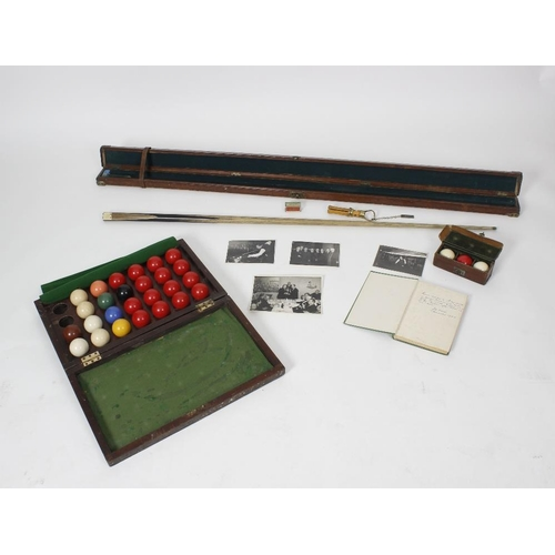 510 - Joe Davis, his early 20th century brown leather and brass capped snooker cue case, painted with name...