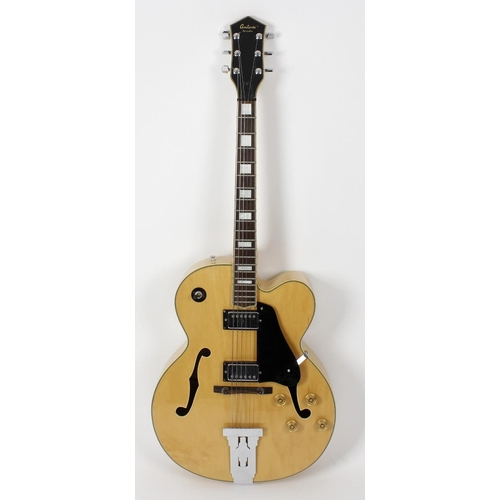 516 - An Antoria Jazzstar semi acoustic six string guitar, in fitted 'Fender' fabric carry case.  <br>Ligh...