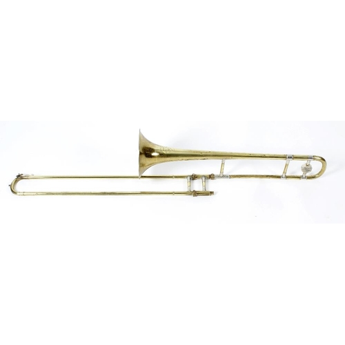 518 - A Boosey & Hawkes Regent brass trombone with chromed fittings, in lined and fitted case, case 35 (89...