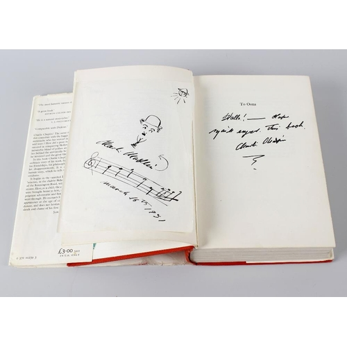 547 - Charles Chaplin, My Autobiography, Bodley Head, London 1964, signed by the author to the dedication ...