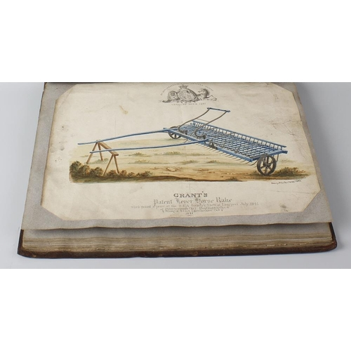 548 - An early Victorian watercolour album, titled Grant's agricultural implements, comprising around 20 w...