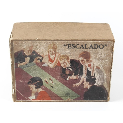 551 - An early 20th century Chad Valley 'Escalado' table top horse racing game in original box. <br>Box ti...