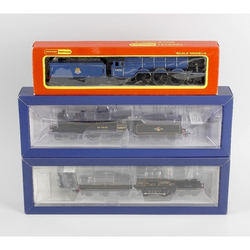 554 - A box containing a selection of ten 00 gauge model railway locomotives, to include Hornby Battle of ...